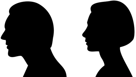 Silhouette head of a man and woman  Illustration