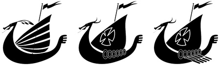 warriors: Silhouette illustration of a viking ship