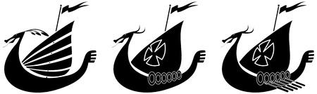vikingo: Silueta de ilustraci�n de un barco vikingo