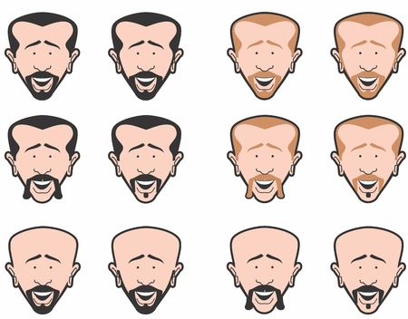 Man s head with different hair styles and mustache styles