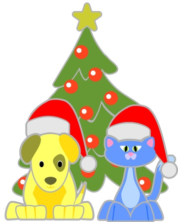 Cat and Dog wearing Santa hats  Vector