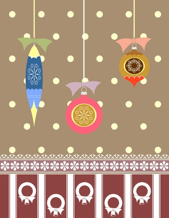 Festive Christmas illustration with ornaments, wreaths, and ribbons