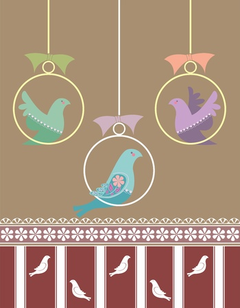 Retro vector wallpaper pattern with birds on perches and ribbons and stripes  Stock Vector - 16579353