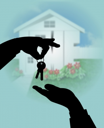 Illustrated hand silhouettes exchanging house keys  photo