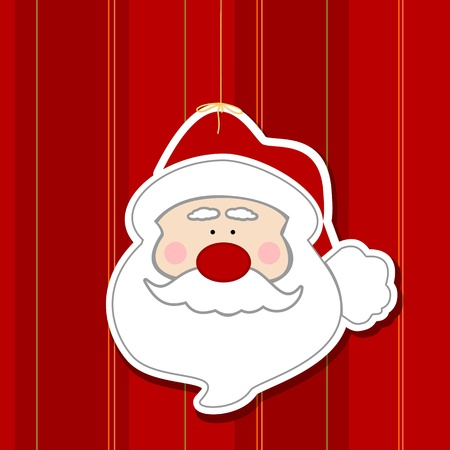 Christmas Santa decal on red striped wallpaper background