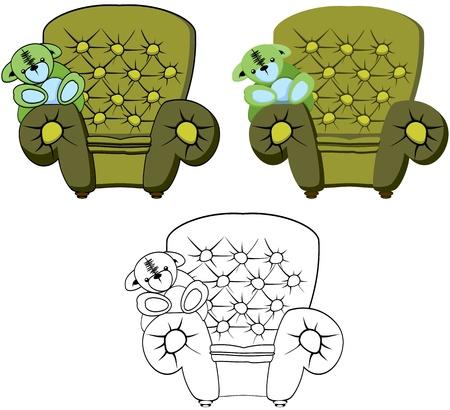Arm Chair with Teddy Bear illustration Illustration