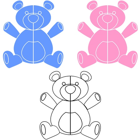 Simple illustration of blue, pink and black and white teddy bears for design or decals