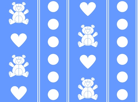 Blue traditional wallpaper tile background design of a teddy bear and hearts Vector