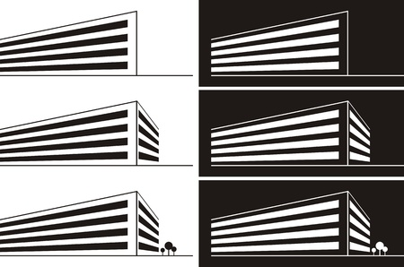 Silhouette illustration of a large commercial building