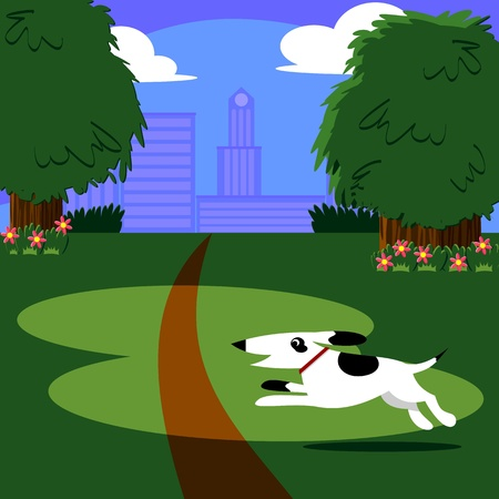 Illustration of a dog running through an urban park scene with a city scape in the background