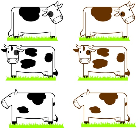 Two sets of cartoon illustration cows standing and isolated on a white background   One set is has black spots, the other has brown Illustration