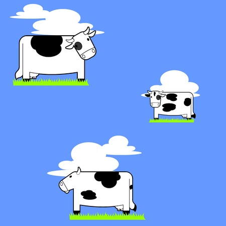 Three cartoon cows standing on grass patches with the sky background   Tileable background image or as a graphic all on its own