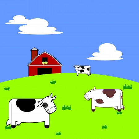 Colorful and vibrant illustration of three cartoon cows standing in a field with a barn and silo in the background  Illustration