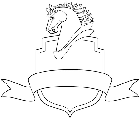 Horse head profile with shield and banner illustration