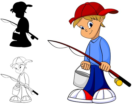 Cool happy kid with fishing rod in color, black and white and silhouette Vector