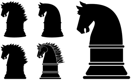 Black silhouette horse chess piece or symbol series Illustration