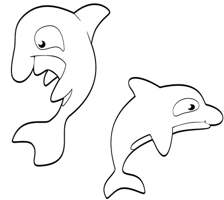 Smiling set of cartoon killer whales in black and white Illustration