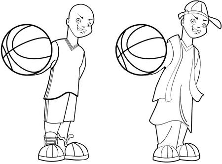 Teenage street and court basketball player illustration set Illustration