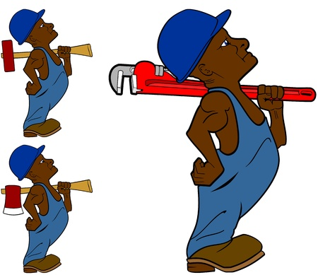 ax man: set of a working man with an ax, a wrench and a sledge hammer
