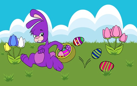 Easter Bunny running with a basket of decorated Easter eggs Vector