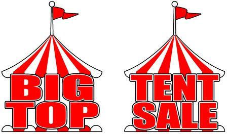 Annonce de vente au détail d'affiche de signe de vente de chapiteau de tente de cirque Vecteurs