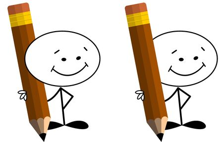 Stickman holding over sized pencil