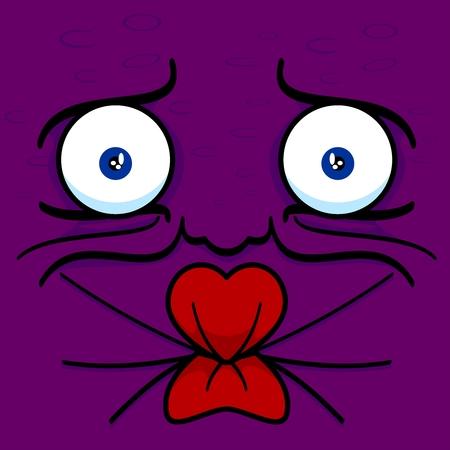 Pucker face cartoon vector illustration purple grape Ilustração
