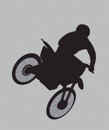 dirt bike: dirt bike rider silhouette getting some air.