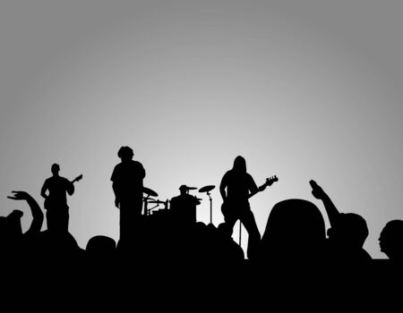 crowd cheering: Rock concert sihouette with crowd cheering on. Stock Photo