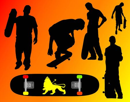 Many Skater silhouettes - Clipping Path Included 版權商用圖片