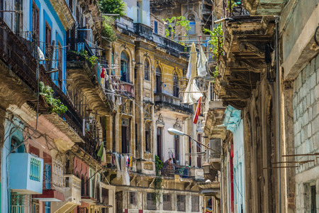 Cuba Houses Colorful Editorial