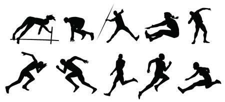 running track: silhouet van mensen sport Stock Illustratie