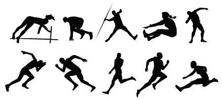 lanzamiento de jabalina: silueta de deportistas Vectores