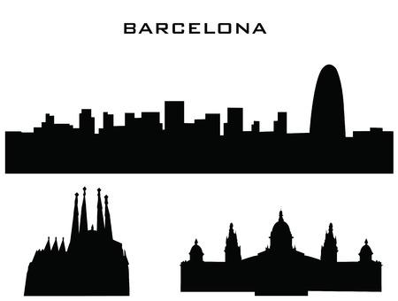 silhouet van de gebouwen barcelona Stock Illustratie