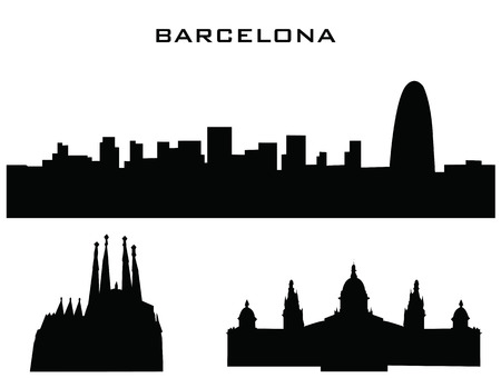 silhouette of buildings barcelona Vector
