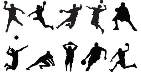 volleyball serve: silueta de los jugadores