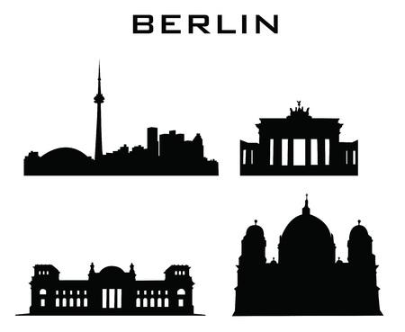 sillhouette: sillhouette of berlin buildings Illustration
