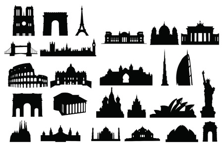 pantheon: buildings of the world sillhouette Illustration