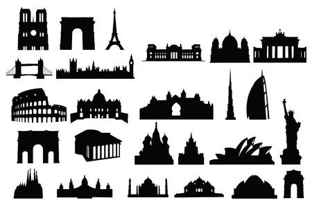 gebouwen van de wereld sillhouette