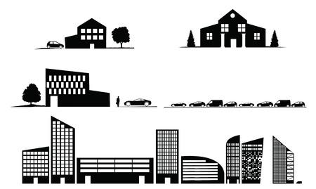 sistema operativo: sillhouette os casas edificios Vectores
