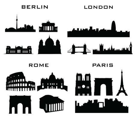 sillhouette: sillhouette of cities buildings london berlin rome paris