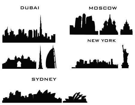 sillhouette of cities new york sydney dubai moscow Vector
