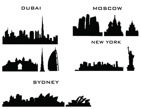 sydney: sillhouette of cities new york sydney dubai moscow