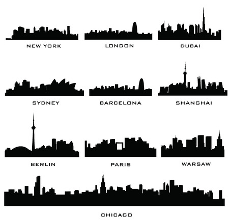 panoramic sky: sillhouette of cities Illustration