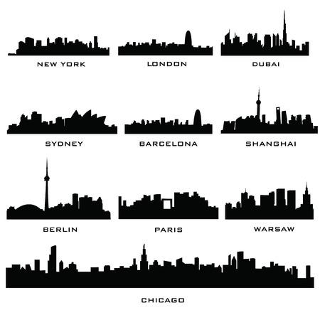 Sillhouette Städten Standard-Bild - 23349636