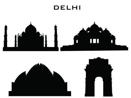 india city: sillhouette di edifici delhi Vettoriali