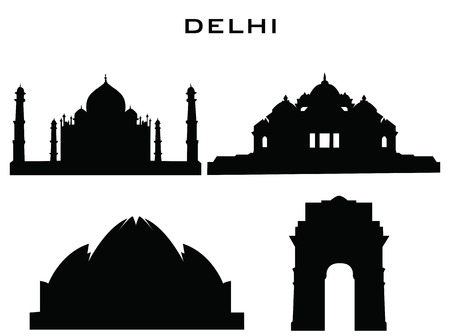 monument in india: sillhouette of delhi buildings Illustration