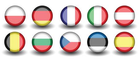 flag pin: flag of nations poland germany france italy Illustration