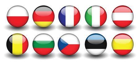 vlaggen van naties polen duitsland grance italië Stock Illustratie