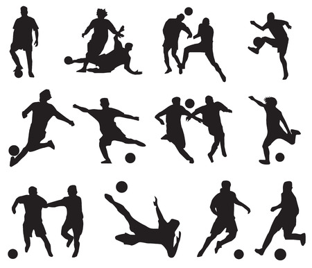 sillhouette: sillhouette of football players Illustration